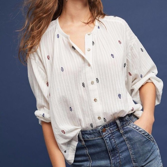 Anthropologie Tops - Akemi + Kin Adela Ebroidered Shirt